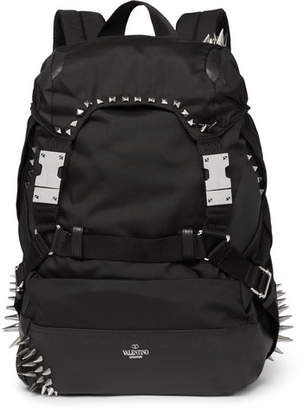 Valentino Studded Leather-Trimmed Nylon Backpack