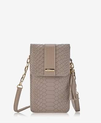 GiGi New York Penny Phone Crossbody Bag In Stone Embossed Python