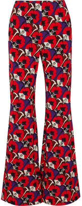 Marni Floral-print Jersey Wide-leg Pants - Red
