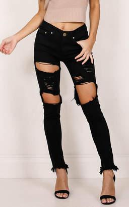 Showpo Hannah Skinny Jeans in black - 14 (XL) Jeans