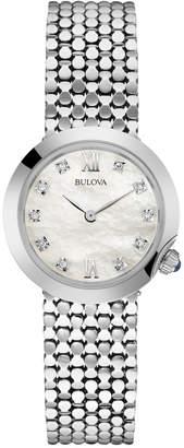 Bulova Women's Diamond Accent Stainless Steel Mesh Bracelet Watch 28mm 96P163 $350 thestylecure.com