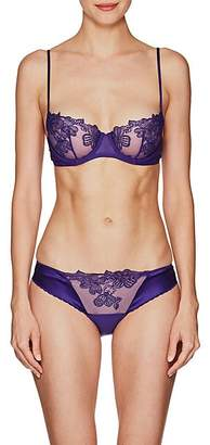 La Perla WOMEN'S ENGLISH ROSE LACE & MESH BALCONETTE BRA - PURPLE SIZE 38 CCP
