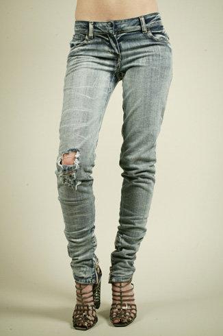 Balmain Blue Skinny Destroyed Jeans