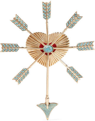 Etro Gold-tone, Bead And Enamel Brooch - one size