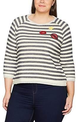 bec81730c388d Ulla Popken Women s Plus Size Striped Patch Cropped Sweatshirt 20 22 710510  21-46