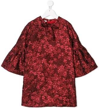 Oscar de la Renta Kids flower metallic jacquard dress