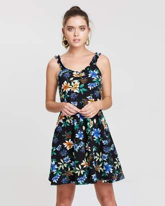 Frilled Floral Print Sun Dress