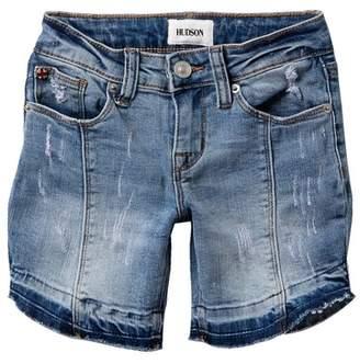 Hudson Jeans Release Hem Distressed Denim Shorts (Big Girls)