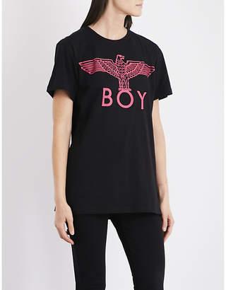 Boy London Ladies Black Pink Ribbed Iconic Eagle Cotton-Jersey T-Shirt
