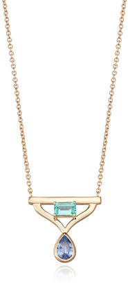 S/H Koh 14k Gold & Sapphire Modern Queen Pendant Necklace