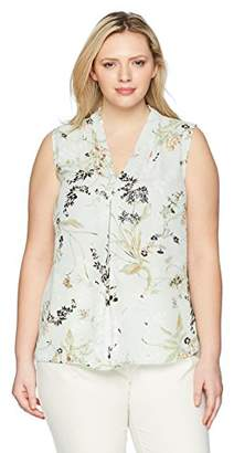 Nine West Women's Plus Size Printed Floral V Neck Blouse
