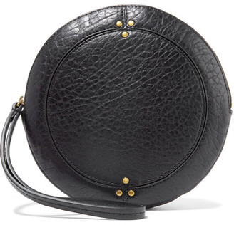 Popoche O Textured-leather Clutch - Black