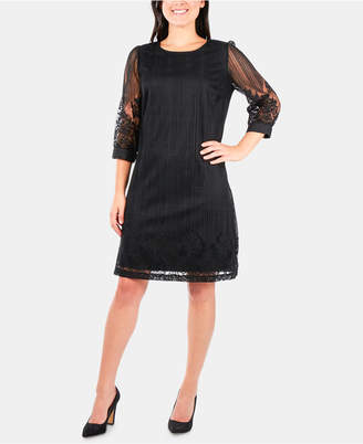 NY Collection Lace Overlay Shift Dress