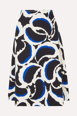 Marni Printed Crepe Midi Skirt - Black