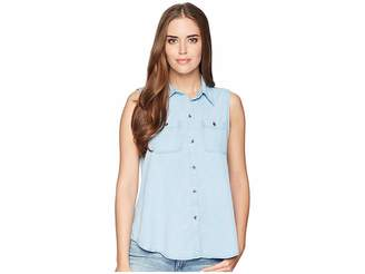 Chaps Chambray Sleeveless Shirt Women's Sleeveless