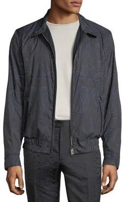 Etro Men's Paisley-Print Blouson Jacket with Leather Trim