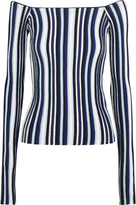 Jacquemus - Off-the-shoulder Striped Ribbed Wool Sweater - Navy $535 thestylecure.com