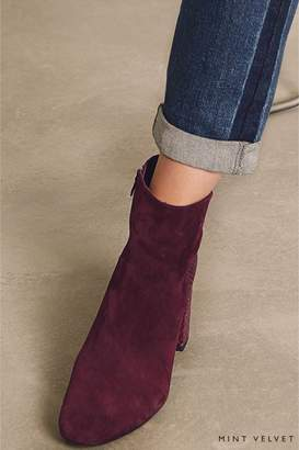 Next Womens Mint Velvet Burgundy Mia Suede Snake Simple Block Heel Boot