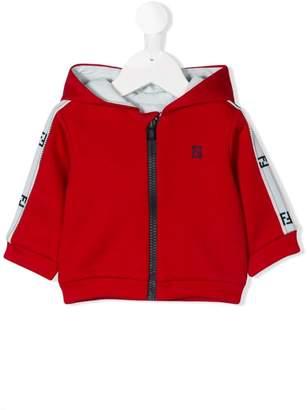 Fendi striped sleeve zip hoodie