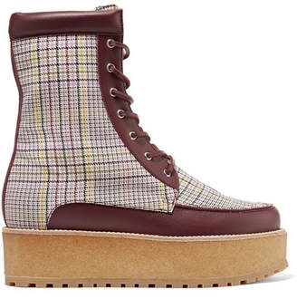 Gabriela Hearst - David Leather-trimmed Checked Wool Platform Ankle Boots - Burgundy