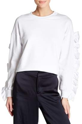 TOV Drop Shoulder Sweater with Ruffle Sleeves $89 thestylecure.com