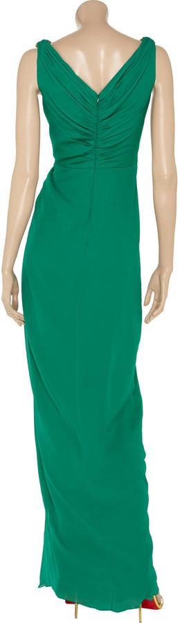 Badgley Mischka Embellished silk-chiffon gown