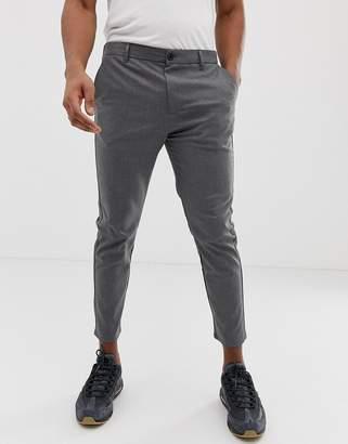 Bershka skinny fit pants in gray with elastic waist