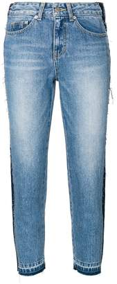 Sjyp side-stripe cropped jeans