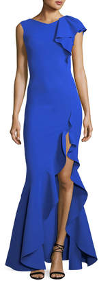 Chiara Boni Chitris Draped Mermaid Front-Slit Gown