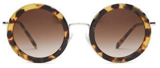 Miu Miu Oversized Round Frame Acetate Sunglasses - Womens - Tortoiseshell
