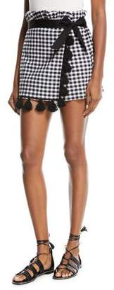 MISA Los Angeles Kayin Gingham-Print Skort with Tassels