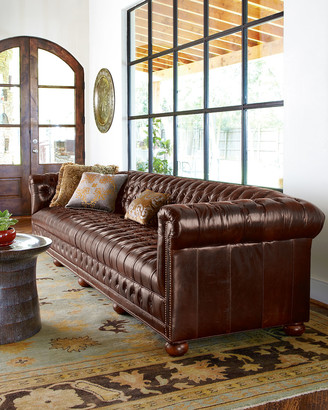 "Old Hickory Tannery Executive 131.5""L Chesterfield Sofa"
