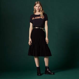 Sandro Technical knit mid-length skirt