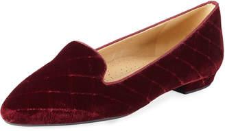Neiman Marcus Glynda Quilted Velvet Loafer Flats Bordeaux