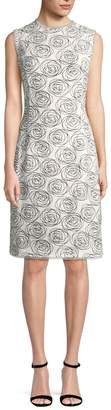Oscar de la Renta Women's Rose Print Sheath Dress