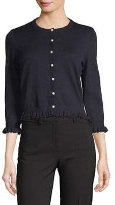 Karl Lagerfeld Paris Lace Back Ruffle-Trimmed Cardigan