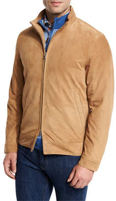 Peter Millar Suede Bomber Jacket, Sand $745 thestylecure.com