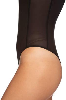 AVEC LES FILLES Turtleneck Mesh-Side Bodysuit