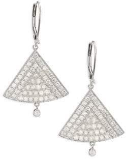 Meira T Diamond& 14K White Gold Triangle Drop Earrings