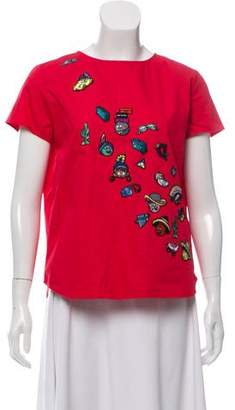Mira Mikati Patch-Embellished Short Sleeve Top