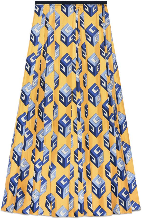 GG Wallpaper print silk skirt
