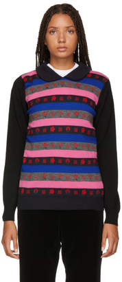 Comme des Garcons Black and Multicolor Jacquard Sweater