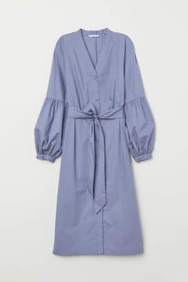 H&M V-neck Shirt Dress - Blue