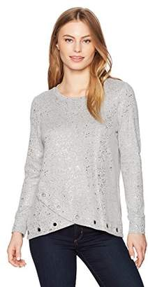 Ruby Rd. Women's Petite Jewel-Neck Foil Heather Hatchi Pullover with Grommets, Platinum Silver