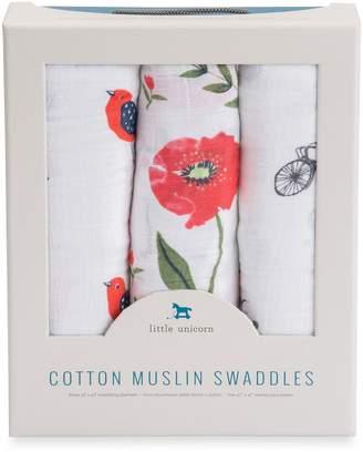 Little Unicorn Baby's Set of 3 Cotton Muslin Swaddle Blankets