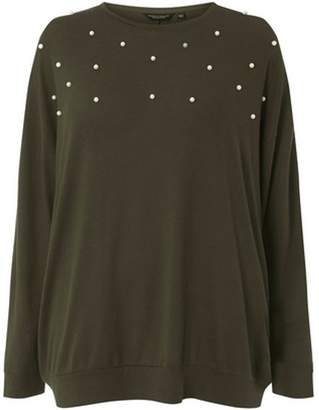 Dorothy Perkins Womens **DP Curve Khaki Batwing Embellished Top