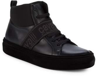 Class Roberto Cavalli Leather High-Top Sneakers