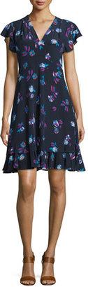 Rebecca Taylor Floral-Print Silk V-Neck Dress $375 thestylecure.com