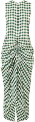 Joseph Zadie Ruched Gingham Poplin Dress - Forest green