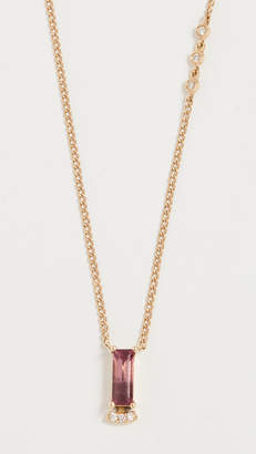 Paige Novick 18k Necklace with Baguette Gemstone & Pave Diamond Bar